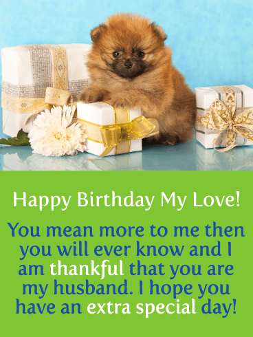 Adorable Puppy - Happy Birthday Card for Husband