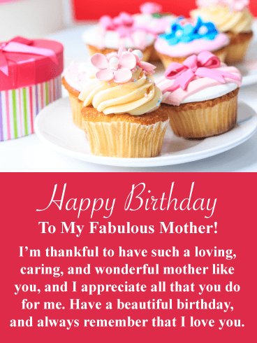 Fancy Cupcakes -  Happy Birthday Card for Mother