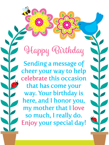A Message of Cheer - Happy Birthday Card for Mother