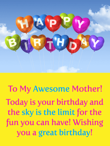 The Sky is the Limit! Happy Birthday for Mother