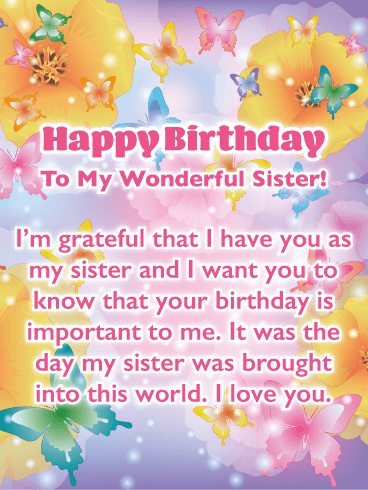 Birthday cards for sister birthday greeting cards by davia beautiful butterflies birthday card for sister m4hsunfo