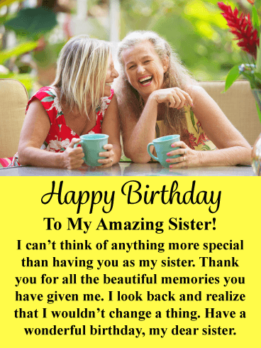 Beautiful Memories - Happy Birthday Card for Sister