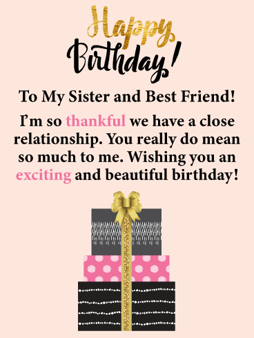 So Thankful! Happy Birthday Card for Sister