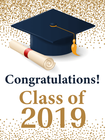 Gold Celebration Confetti - Graduation Card 2019