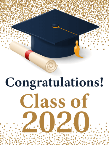 Gold Celebration Confetti - Graduation Card 2020