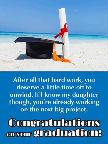 Graduation Cap on the Beach - Happy Graduation Card for Daughter
