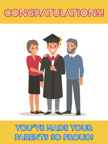 Cute Cartoon Graduate - Graduation Card from Parents