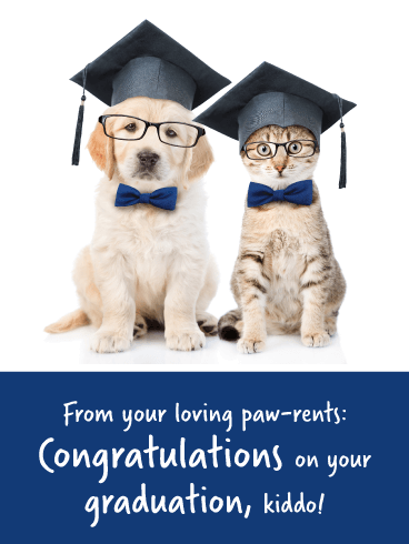 Your Loving Paw-rents - Funny Graduation Card from Parents