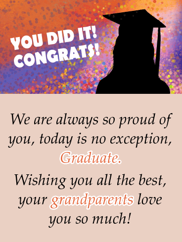 You Did It Silhouette - Graduation Card from Grandparents