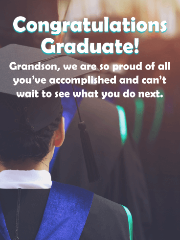 So Proud of You! - Graduation Card for Grandson