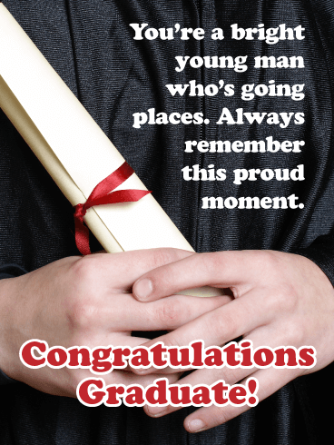A Bright Young Man - Happy Graduation Card for Him