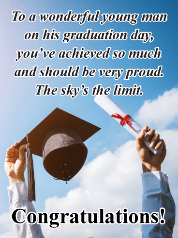 To a Wonderful Young Man - Happy Graduation Card for Him