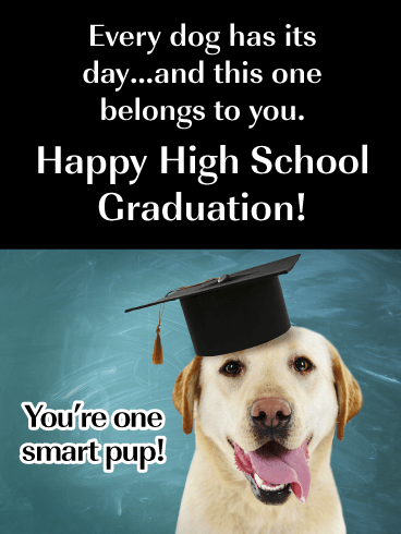 You're One Smart Pup! - Funny High School Graduation Card