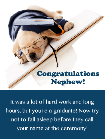Sleepy Puppy - Funny Graduation Card for Nephew