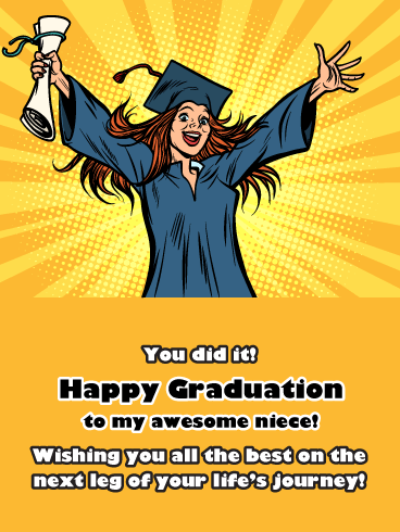 Comic Book Style - Happy Graduation Card for Niece