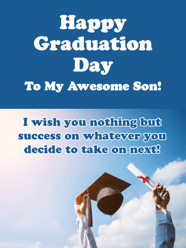Nothing But Success - Happy Graduation Card for Son