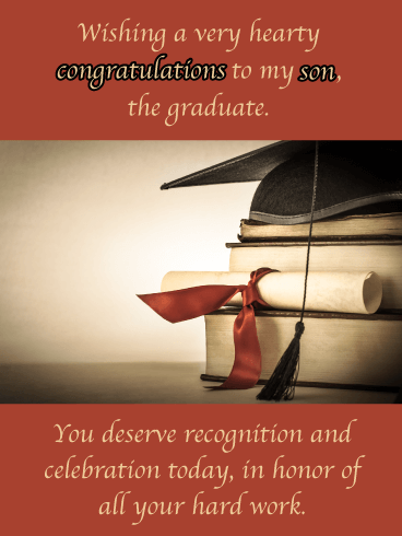 Hearty Congratulations - Happy Graduation Card for Son