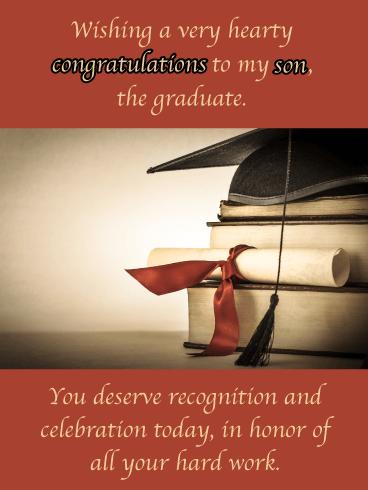 Hearty Congratulations - Happy Graduation Card for Son