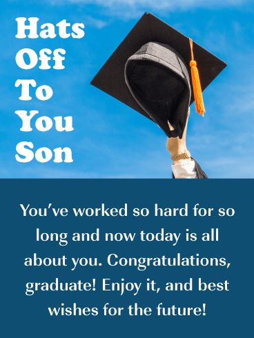 Hats Off To You - Happy Graduation Card for Son