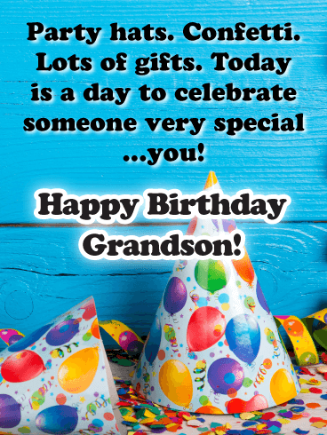 Today is a Day to Celebrate - Happy Birthday Card for Grandson