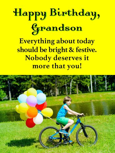 Bright & Festive - Happy Birthday Card for Grandson