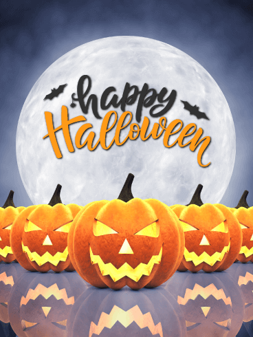 Full Moon Pumpkins – Happy Halloween Card