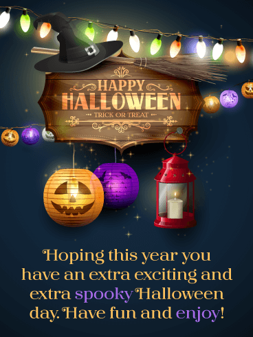 Glowing Decorations – Happy Halloween Card