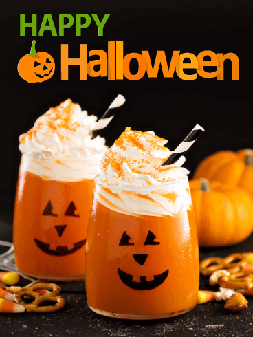 Yummy Pumpkin Drinks – Happy Halloween Card