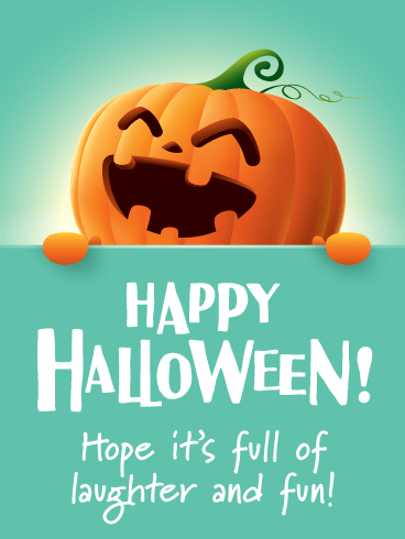Laughing Jack-O-Lantern - Happy Halloween Card