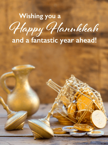 Golden Dreidels – Happy Hanukkah Card