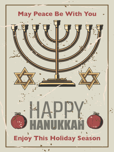 Golden Menorah - Happy Hanukkah Card