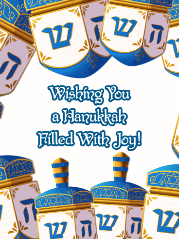 Blue and Gold Traditional Dreidels - Happy Hanukkah Card