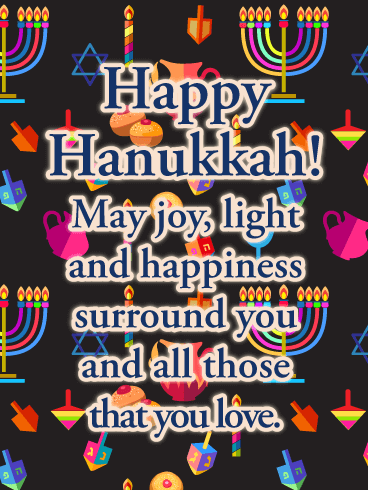 Joy, Light and Happiness - Happy Hanukkah Card