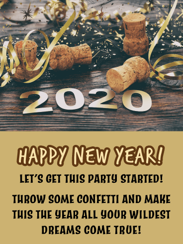 Champagne Poppin' - Happy New Year Card for 2020
