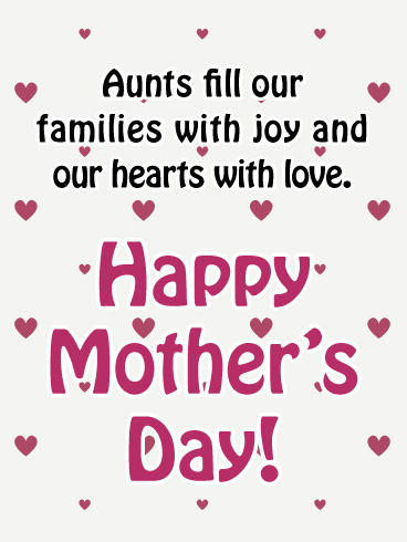 Full of Joy and Love - Happy Mother's Day Card for Aunt