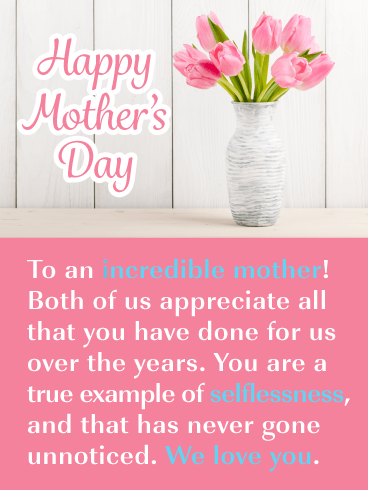Beautiful Flowers - Happy Mother's Day Card from Both of Us