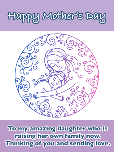 Mother Daughter Doodle - Happy Mother's Day Card for Daughter