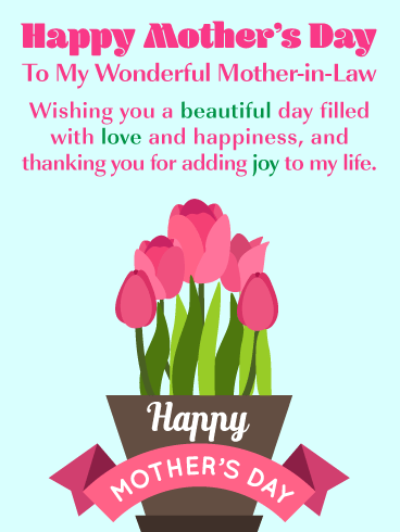 Beautiful Tulips - Happy Mother's Day Card for Mother-in-Law