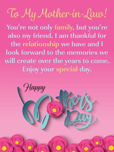 You're Also a Friend -  Happy Mother's Day Card for Mother-in-Law