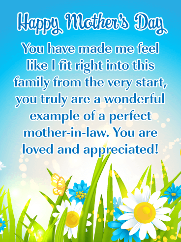 I Appreciate You! - Happy Mother's Day Card for Mother-in-Law