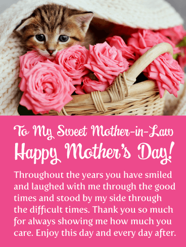 Kitten & Roses - Happy Mother's Day Card for Mother-in-Law