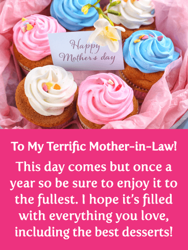 Colorful Cupcakes - Happy Mother's Day Card for Mother-in-Law