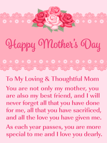 I Love You Dearly - Happy Mother's Day Card for Mother