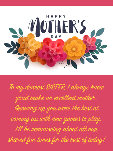 Spring Flowers - Happy Mother's Day Card for Sister