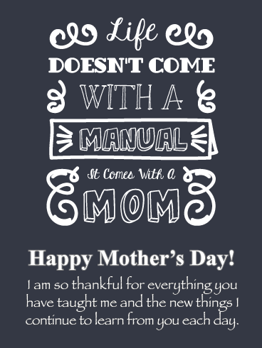 Thankful for Everything - Happy Mother's Day Card from Son