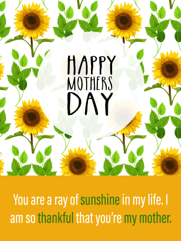 A Ray of Sunshine - Happy Mother's Day Card from Son