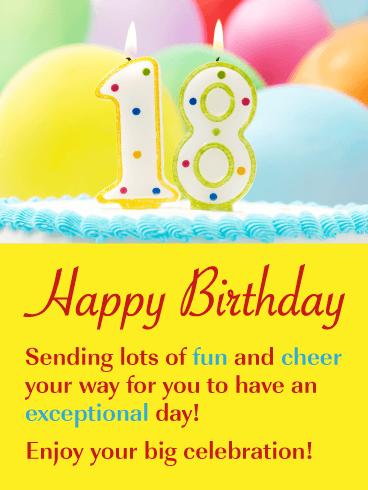 Celebration Cake & Balloons – Happy 18th Birthday Card