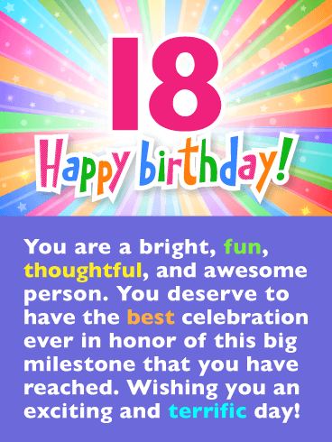 Festive Rainbow Colors – Happy 18th Birthday Card