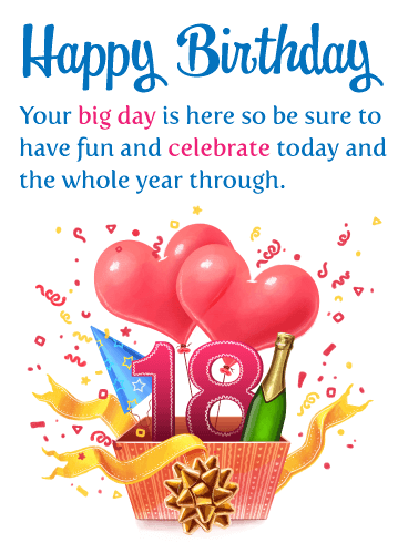 Your Big Day – Happy 18th Birthday Card