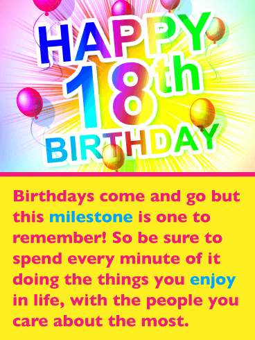 Festive Balloons – Happy 18th Birthday Card